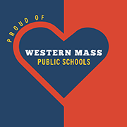 Proud of Western Mass Public Schools logo - red and blue heart