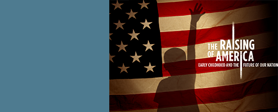 American flag with silhouette of a child raising a hand