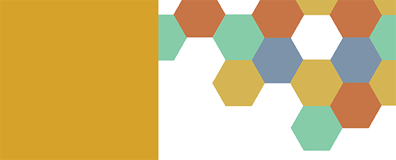 Banner with multi-colored honeycomb pattern