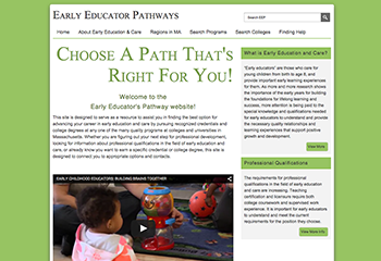 Early Educator Pathways website screenshot