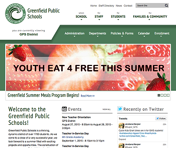 Greenfield Public Schools website screen grab