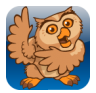 icon for Proloquo2Go, image of an owl on a blue background