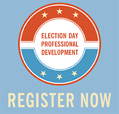 Red White Blue Round Graphic for Election Day Professional Development