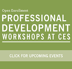 """Green square """"Click for upcoming Professional Development events"""""""