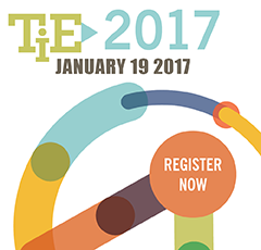 Logo for TiE conference with text Register Now
