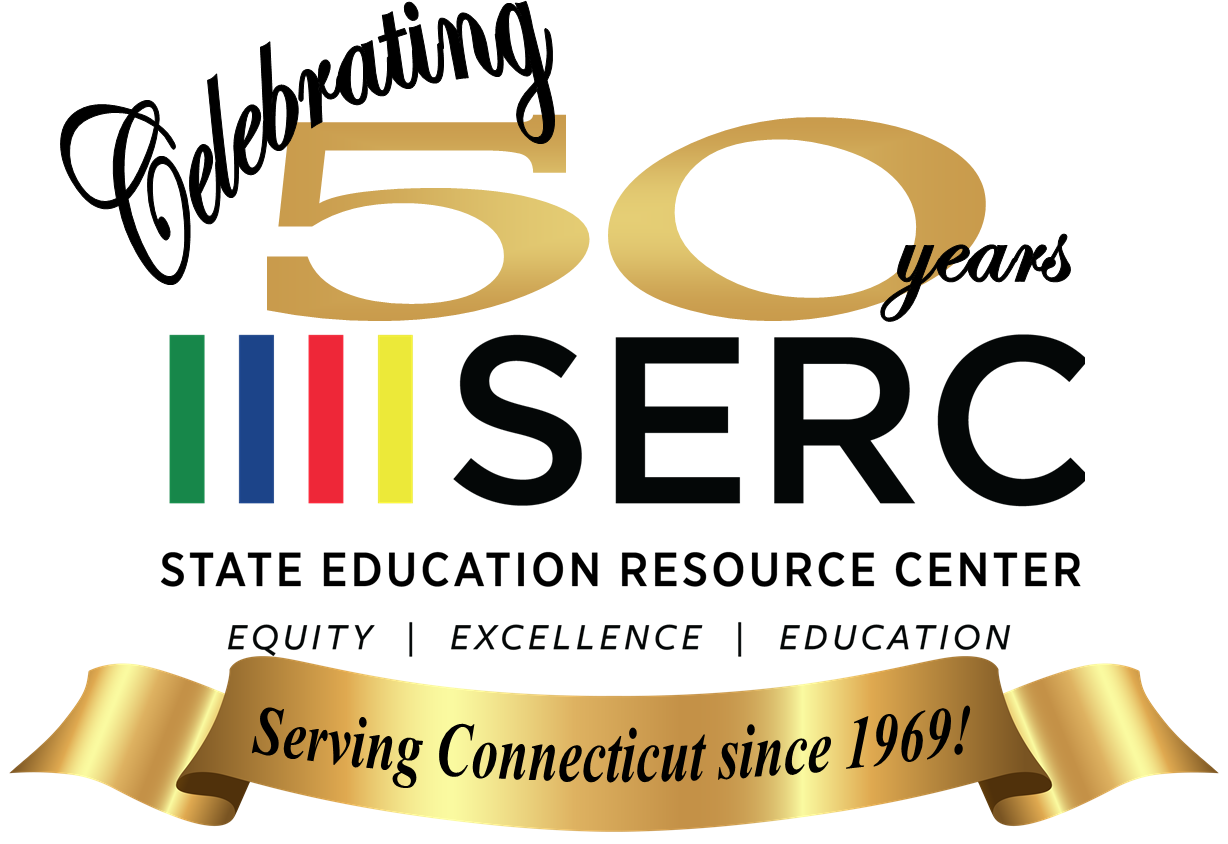 "SERC logo - color bars with text ""Celebrating 50 years SERC State Education Resource Center Equity Excellence Education Serving Connecticut since 1969!"""