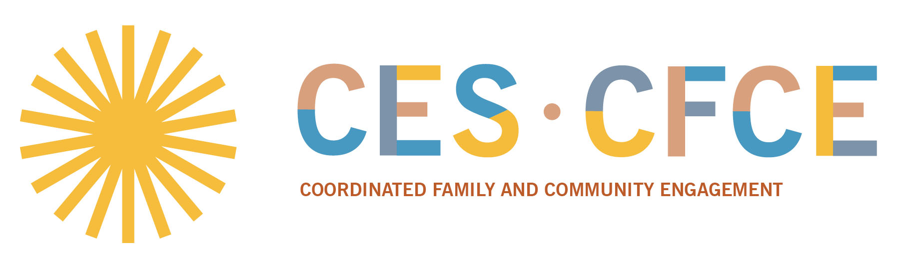 colorful text with CES starburst and text: CES CFCE: Coordinated Family and Community Engagement