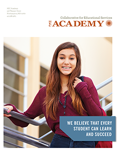thumbnail image of HEC Academy brochure cover - young teen standing on school stairs, smiling and holding backpack