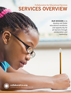 thumbnail of the CES Services brochure cover, young girl writing