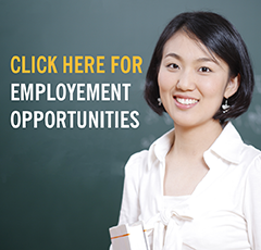 "Image of young woman with text ""click here for employment opportunities"""