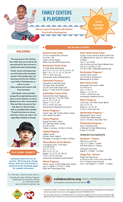 Thumbnail of Family Centers and Playgroups Summer 2018 Flyer
