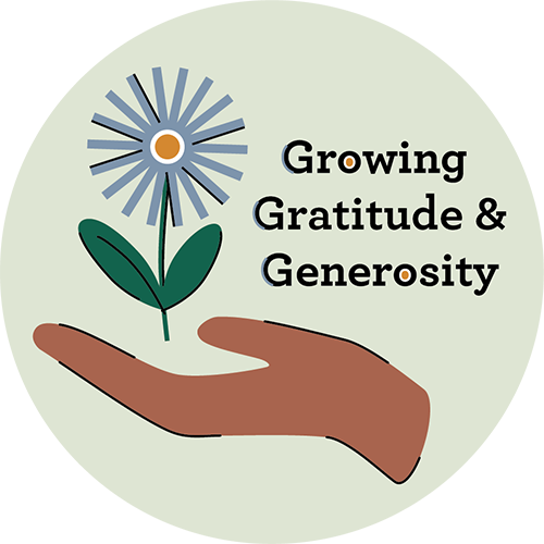 graphic logo image for Growing Gratitude and Generosity Program featuring an open hand with a flower