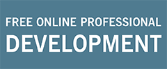 """blue rectangle with white text """"Free Online Professional Development"""""""