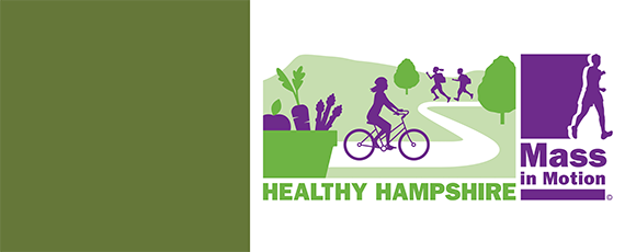 graphic image of person riding a bike down a path through a park, a container with fresh vegetables in the foreground