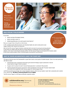 thumbnail image of the Licensure District Cohort flyer