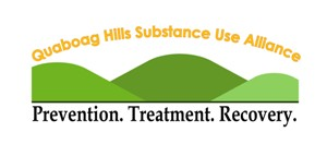 "Quaboag Hills Substance Use Alliance logo - green hills with text ""Prevention. Treatment. Recovery."