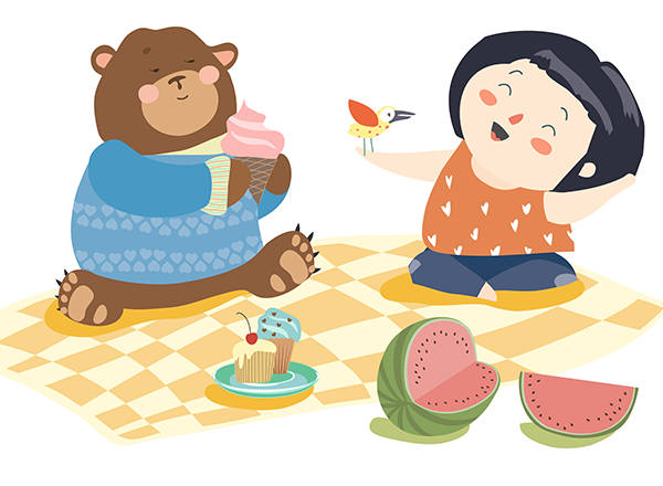 illustration of little girl holding a bird, sitting with a bear on a picnic blanket eating cupcakes and watermelon and ice cream