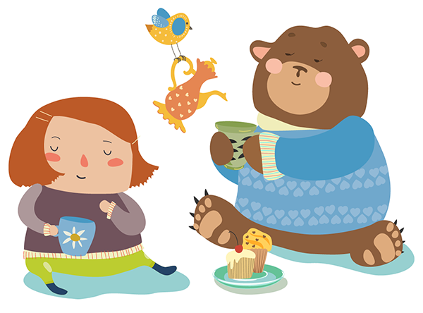 Illustration of a little girl, a bird, and a bear having a tea party