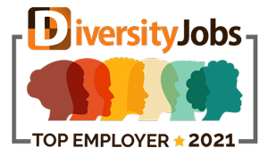 """graphic image of colorful sillouettes of people's profiles with text """"Diversity Jobs Top Employer 2021"""""""