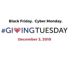 "stacked image with text: ""Black Friday. Cyber Monday. #GivingTuesday December 3, 2019"""