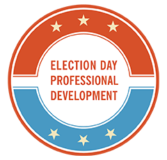 Red white and blue graphic image for election day pd
