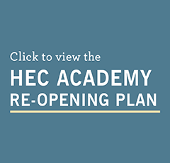 "blue rectangle with text ""click here to view the HEC Academy Re-Opening Plan"""