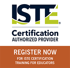 Graphic image with text ISTE Certification Authorized Provider Register Now