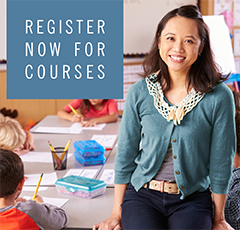 "Photo of woman standing in front of her class, smiling at camera. Text ""Register Now for Courses"""