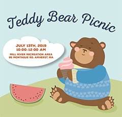 """image of a bear in a sweater eating an ice cream cone outside with a blurb that says """"Teddy Bear Picnic July 13, 2019 10:00am to 12:00pm at Mill River Recreation Area in Amherst"""""""