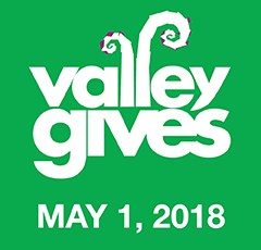Graphic with text, Valley Gives is May 1