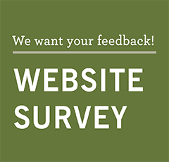 "green square with text ""We want your feedback! Website Survey"""