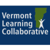 "dark blue graphic block of figure in front of green outline of state of Vermont with text ""Vermont Learning Collaborative"""