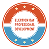 Election Day PD circle red, white, blue graphic
