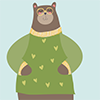 thumbnail image of illustrated bear in a sweater wearing glasses