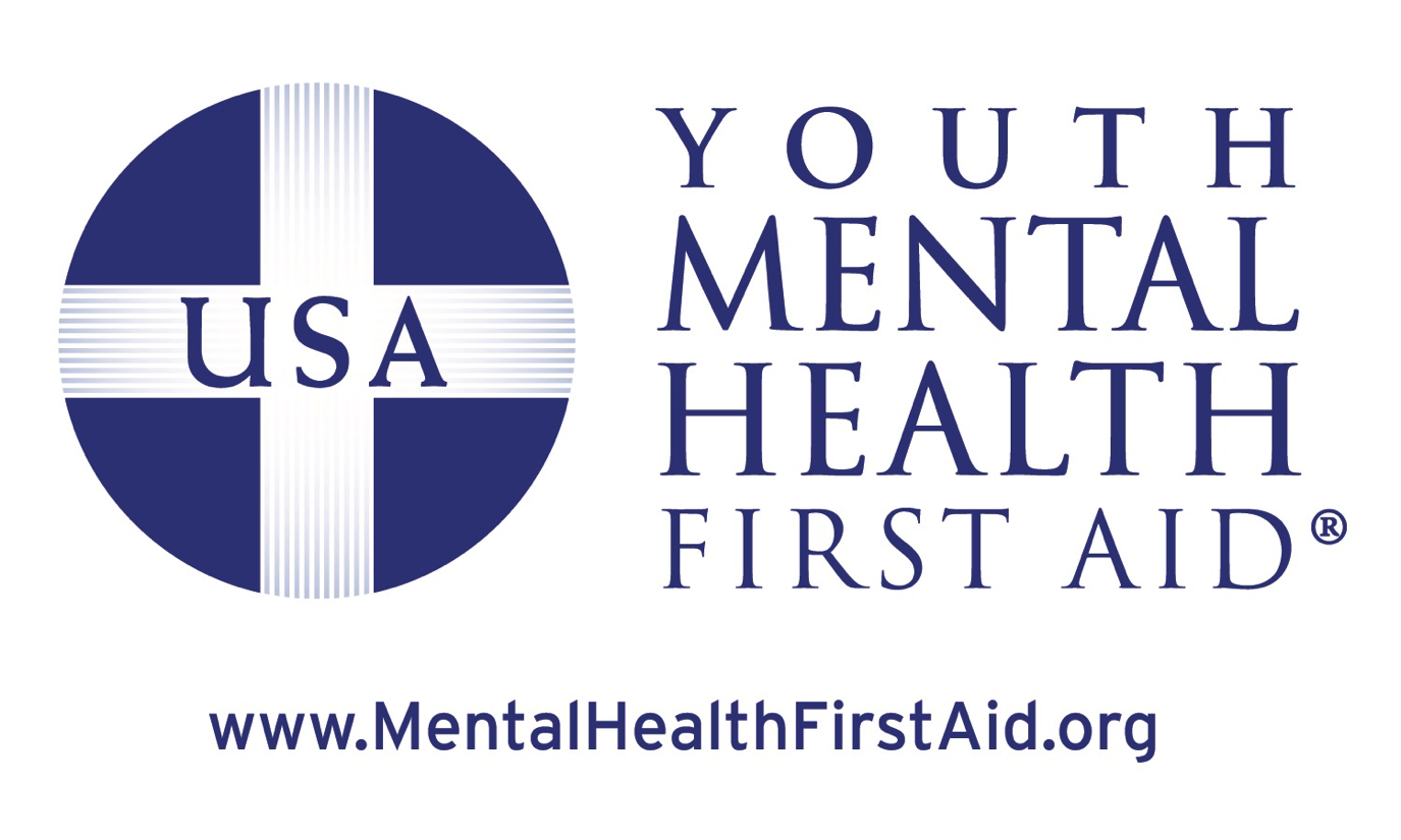 "Youth Mental Health First Aid logo, blue circle with white cross through it with text ""usa"""